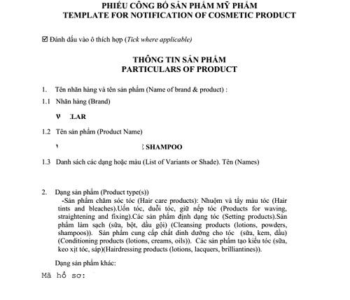 hồ sơ công bố mỹ phẩm nhập khẩu